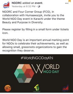 World NGO Day Pakistan- The initiative of THE NGO WORLD is expanding